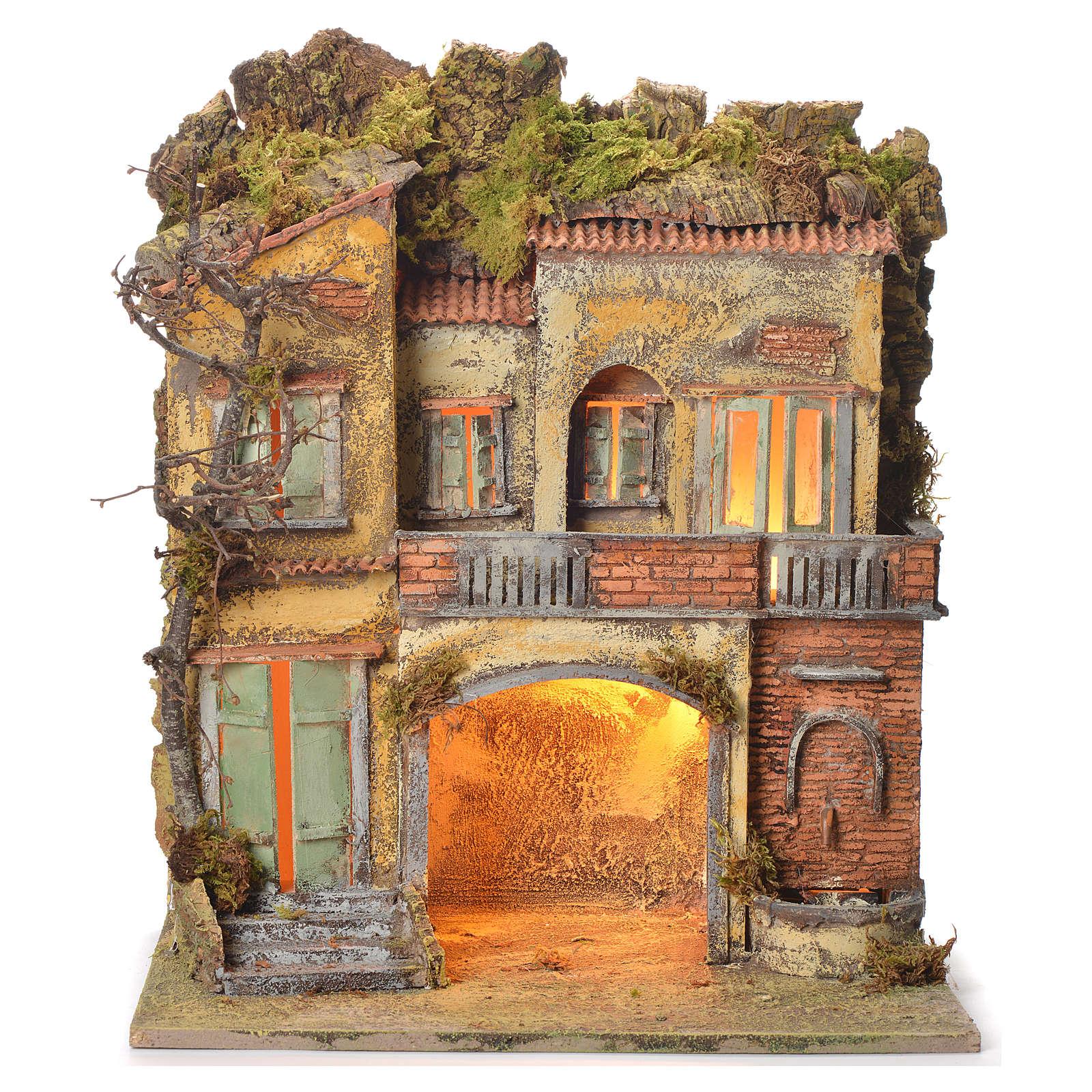 Borgo del presepe con fontana 65X45X35 per cm 10 4