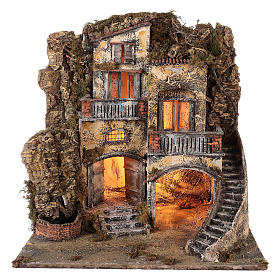 Neapolitan Nativity 60x55x45cm Village and fountain for 10/12cm s1