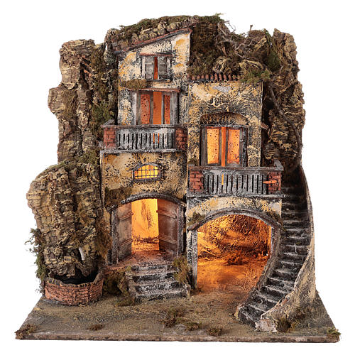 Neapolitan Nativity 60x55x45cm Village and fountain for 10/12cm 1