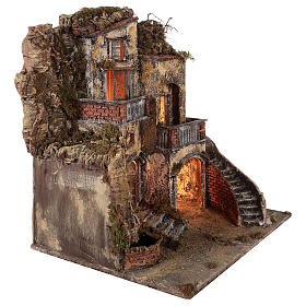 Village crèche avec petite fontaine 60x55x45 cm santons 10-12 cm s5