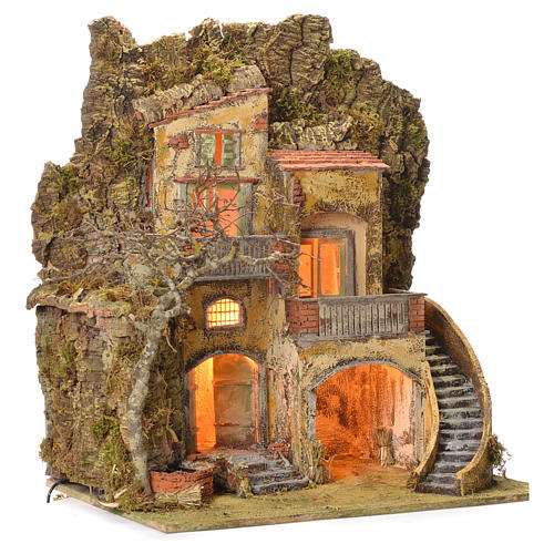 Borgo presepe con fontanella 60X55X45 per cm 10/12 2