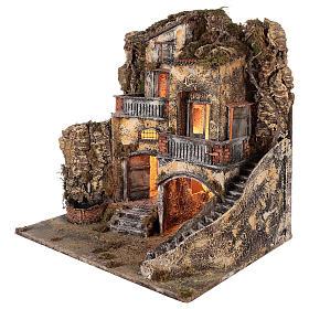 Kamienica do szopki z małą fontanną 60x55x45 do figur cm 10/12 s4