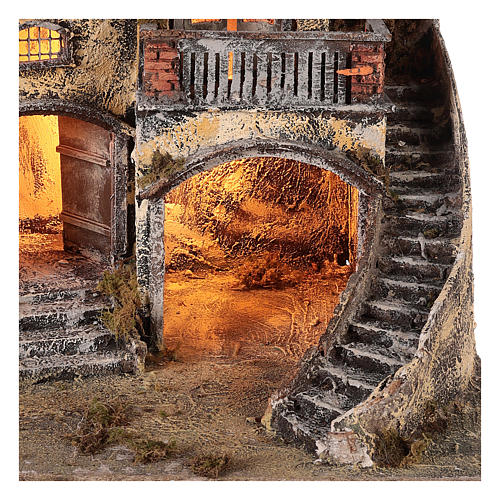 Kamienica do szopki z małą fontanną 60x55x45 do figur cm 10/12 3