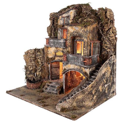 Kamienica do szopki z małą fontanną 60x55x45 do figur cm 10/12 4