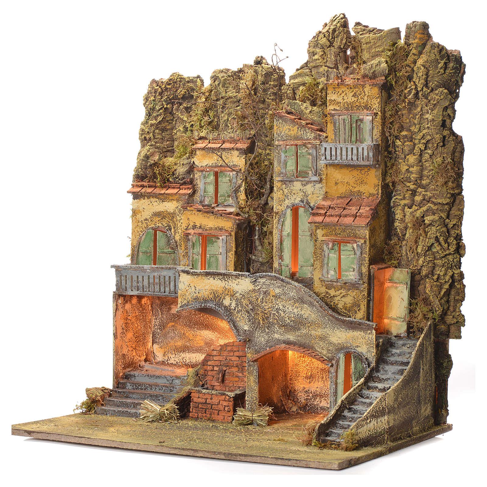 Borgo del presepe napoletano con fontana 65X56X64 per cm 8 4