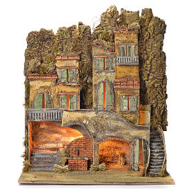 Borgo del presepe napoletano con fontana 65X56X64 per cm 8 s1