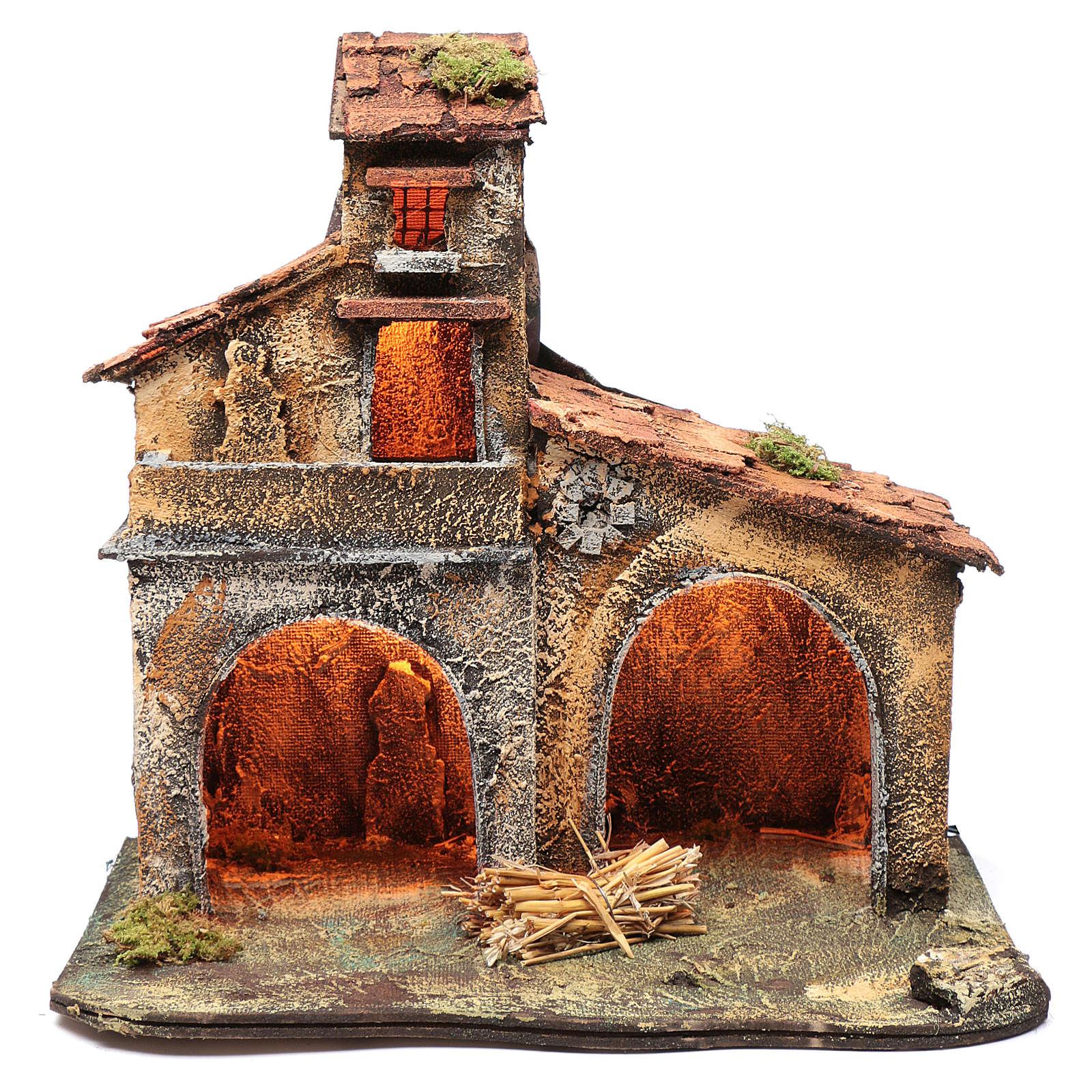 Wooden cabin, Neapolitan Nativity 40x44x30cm 4