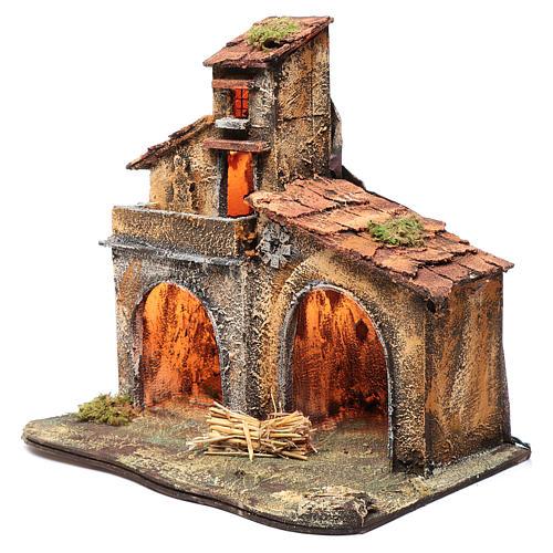 Wooden cabin, Neapolitan Nativity 40x44x30cm 2