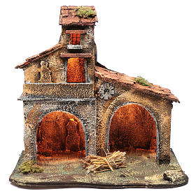 Wooden cabin, Neapolitan Nativity 40x44x30cm s1