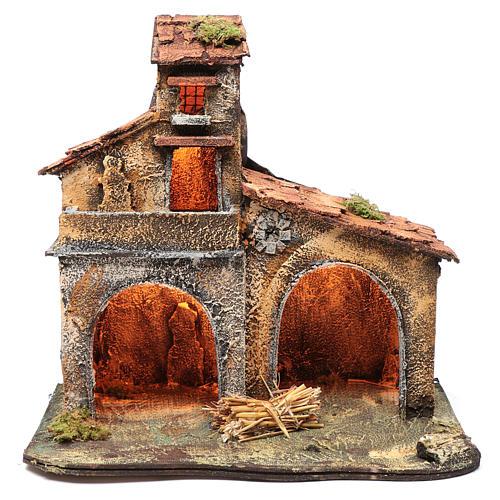 Wooden cabin, Neapolitan Nativity 40x44x30cm 1