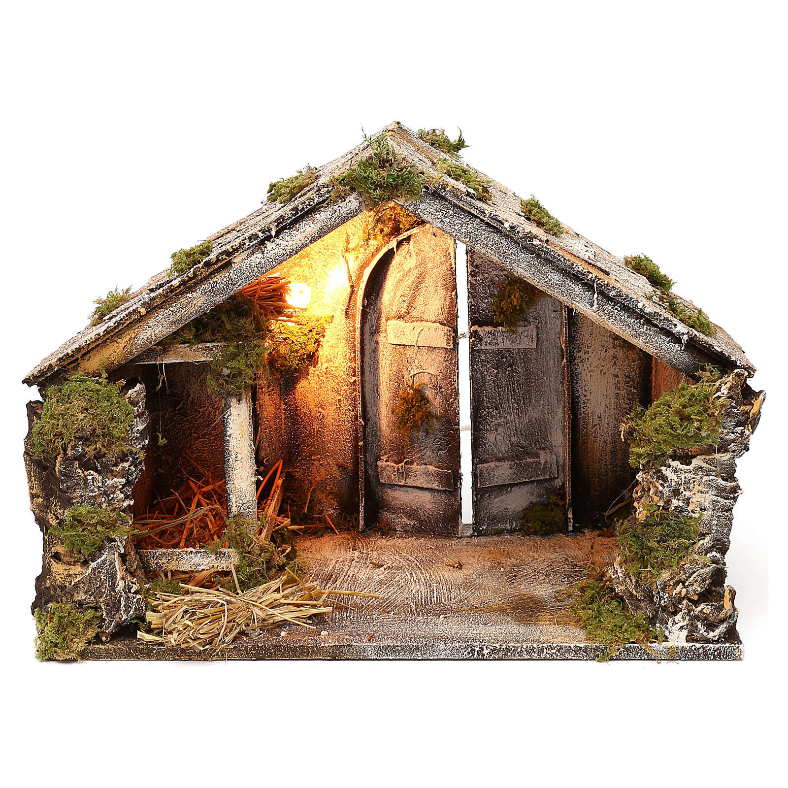 Wooden and straw cabin, Neapolitan Nativity 36x51x29cm 4