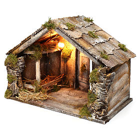 Wooden and straw cabin, Neapolitan Nativity 36x51x29cm s2