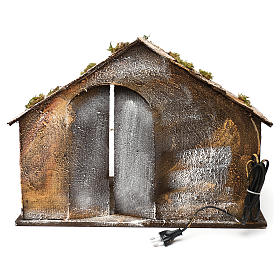 Wooden and straw cabin, Neapolitan Nativity 36x51x29cm s4