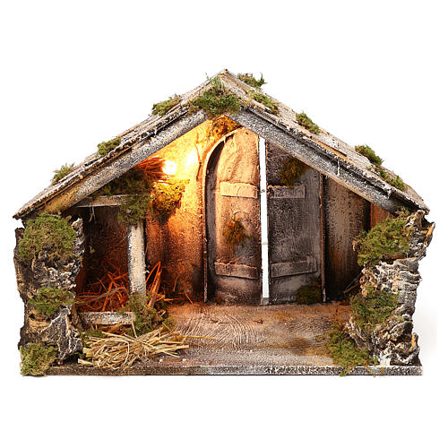 Wooden and straw cabin, Neapolitan Nativity 36x51x29cm 1