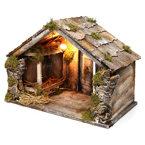Wooden and straw cabin, Neapolitan Nativity 36x51x29cm 2