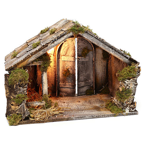 Wooden and straw cabin, Neapolitan Nativity 36x51x29cm 3