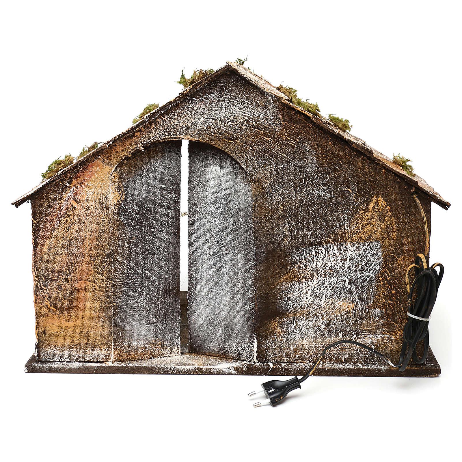 Cabane bois paille crèche napolitaine 36x51x29 cm 4