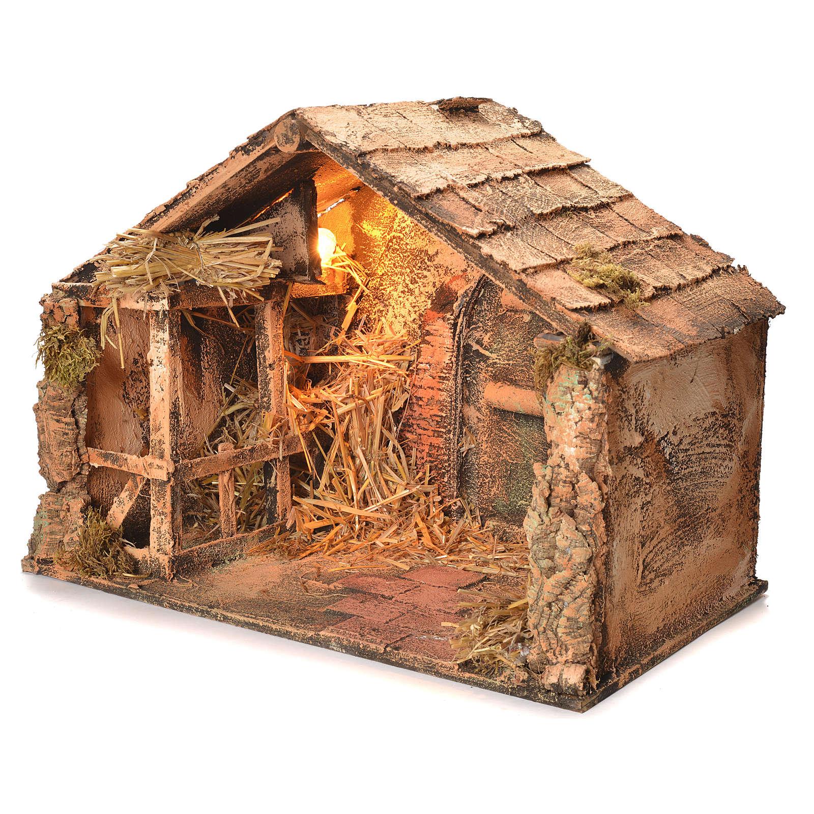 Wooden and straw cabin, Neapolitan Nativity 36x51x29cm 4