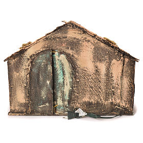 Wooden and straw cabin, Neapolitan Nativity 36x51x29cm s4