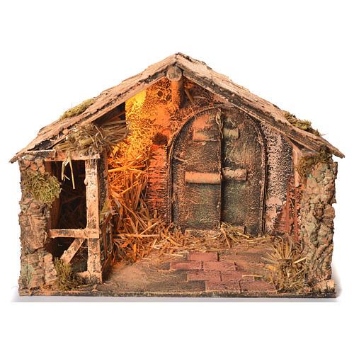 Wooden and straw cabin, Neapolitan Nativity 36x51x29cm 1