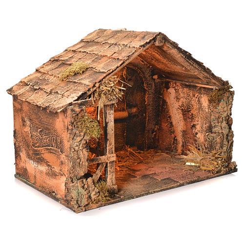 Wooden and straw cabin, Neapolitan Nativity 36x51x29cm 2