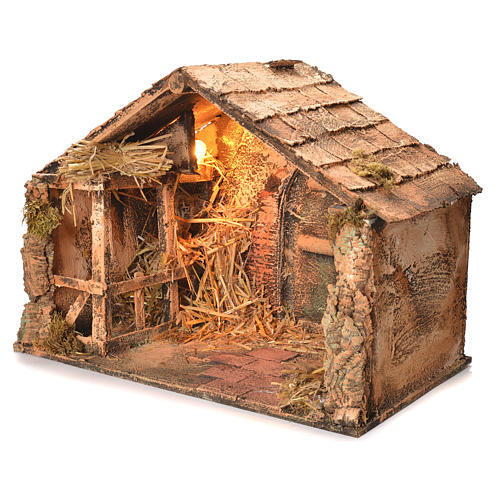 Wooden and straw cabin, Neapolitan Nativity 36x51x29cm 3