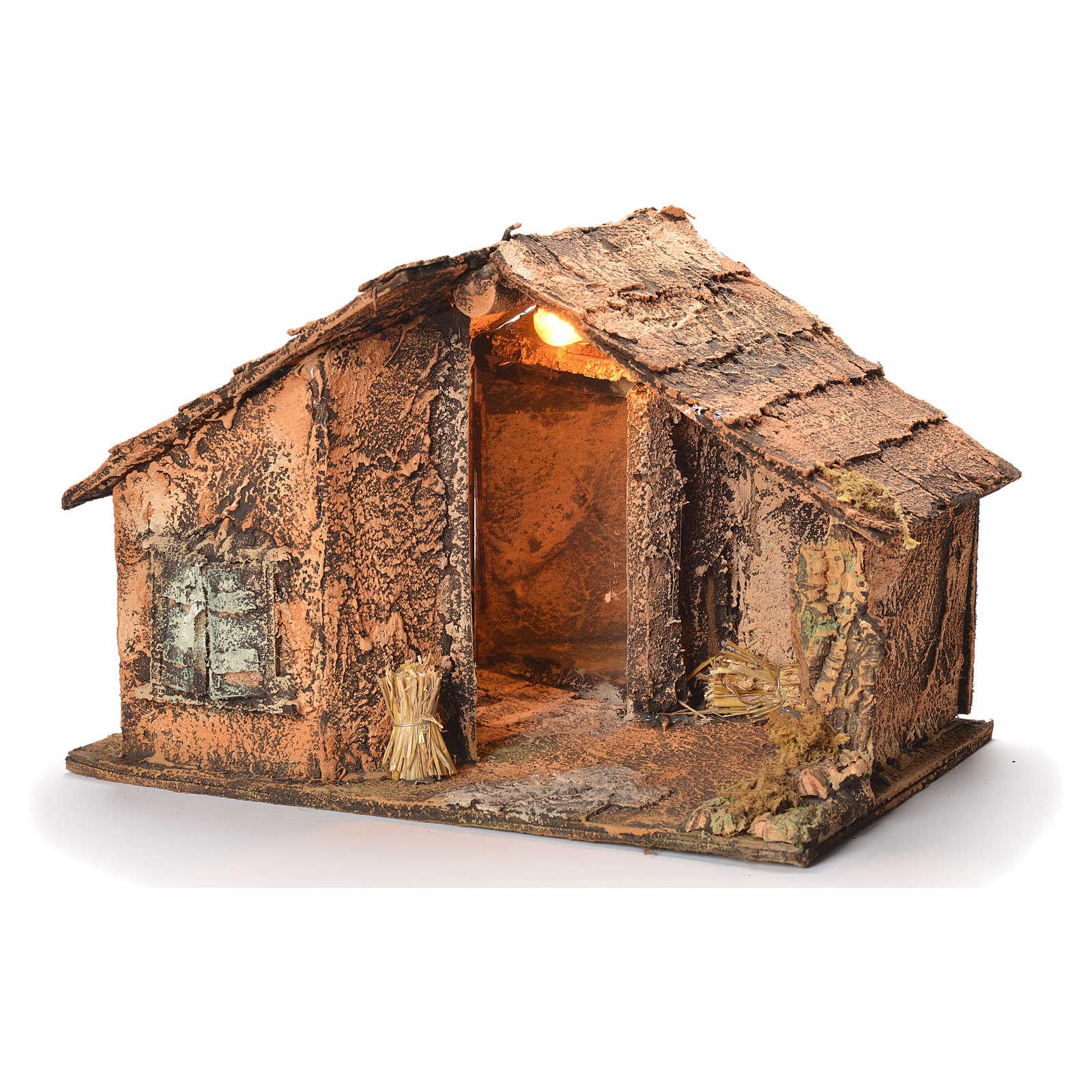 Wooden cabin with mirror, Neapolitan Nativity 45x56x45cm 4