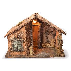 Wooden cabin with mirror, Neapolitan Nativity 45x56x45cm s1