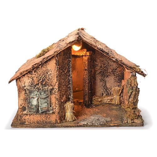 Wooden cabin with mirror, Neapolitan Nativity 45x56x45cm 1