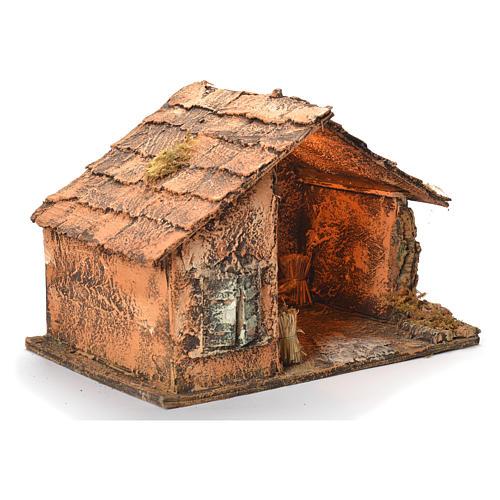 Wooden cabin with mirror, Neapolitan Nativity 45x56x45cm 2