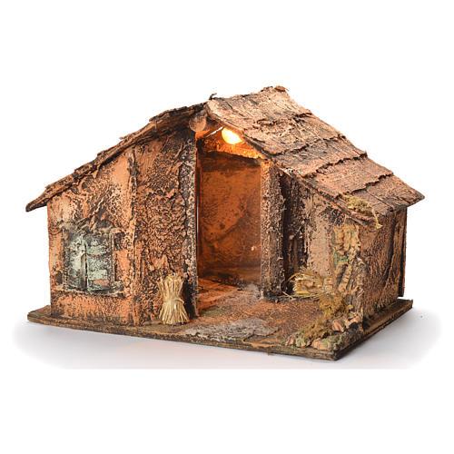 Wooden cabin with mirror, Neapolitan Nativity 45x56x45cm 3