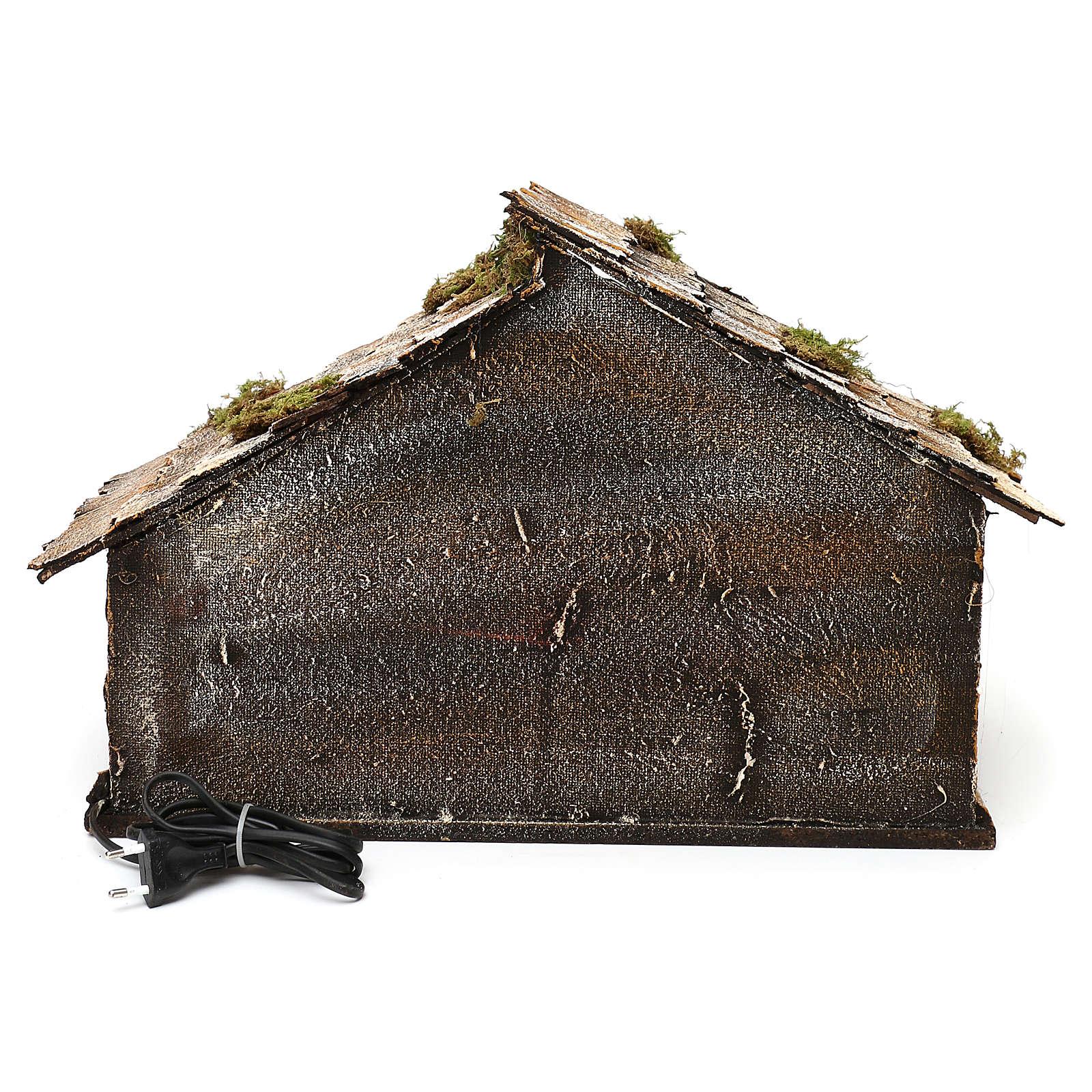 Portal de madera con luz y pajar pesebre napolitano 30x49x29 cm 4