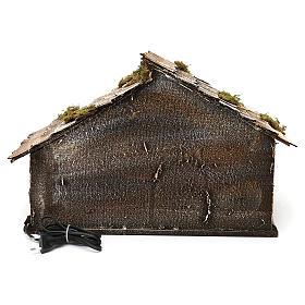 Portal de madera con luz y pajar pesebre napolitano 30x49x29 cm s4