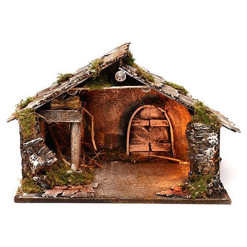 Portal de madera con luz y pajar pesebre napolitano 30x49x29 cm 1