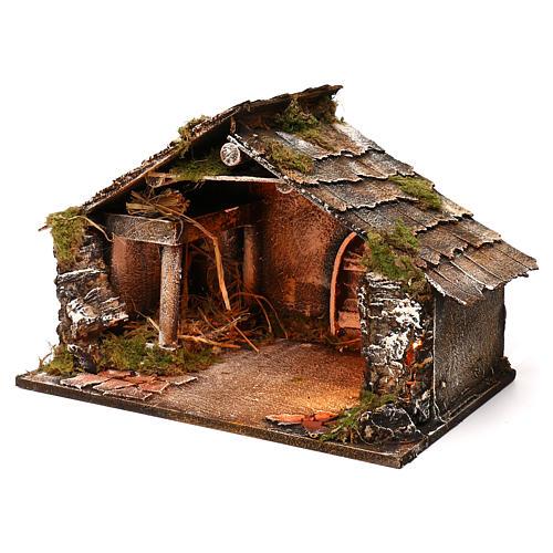 Portal de madera con luz y pajar pesebre napolitano 30x49x29 cm 2