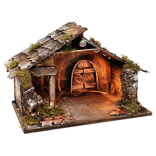Portal de madera con luz y pajar pesebre napolitano 30x49x29 cm 3