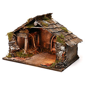 Cabane en bois crèche napolitaine 30x49x29 cm s2