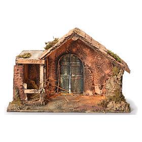 Cabane en bois et paille crèche napolitaine 31x46x29 cm s1