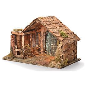 Cabane en bois et paille crèche napolitaine 31x46x29 cm s3