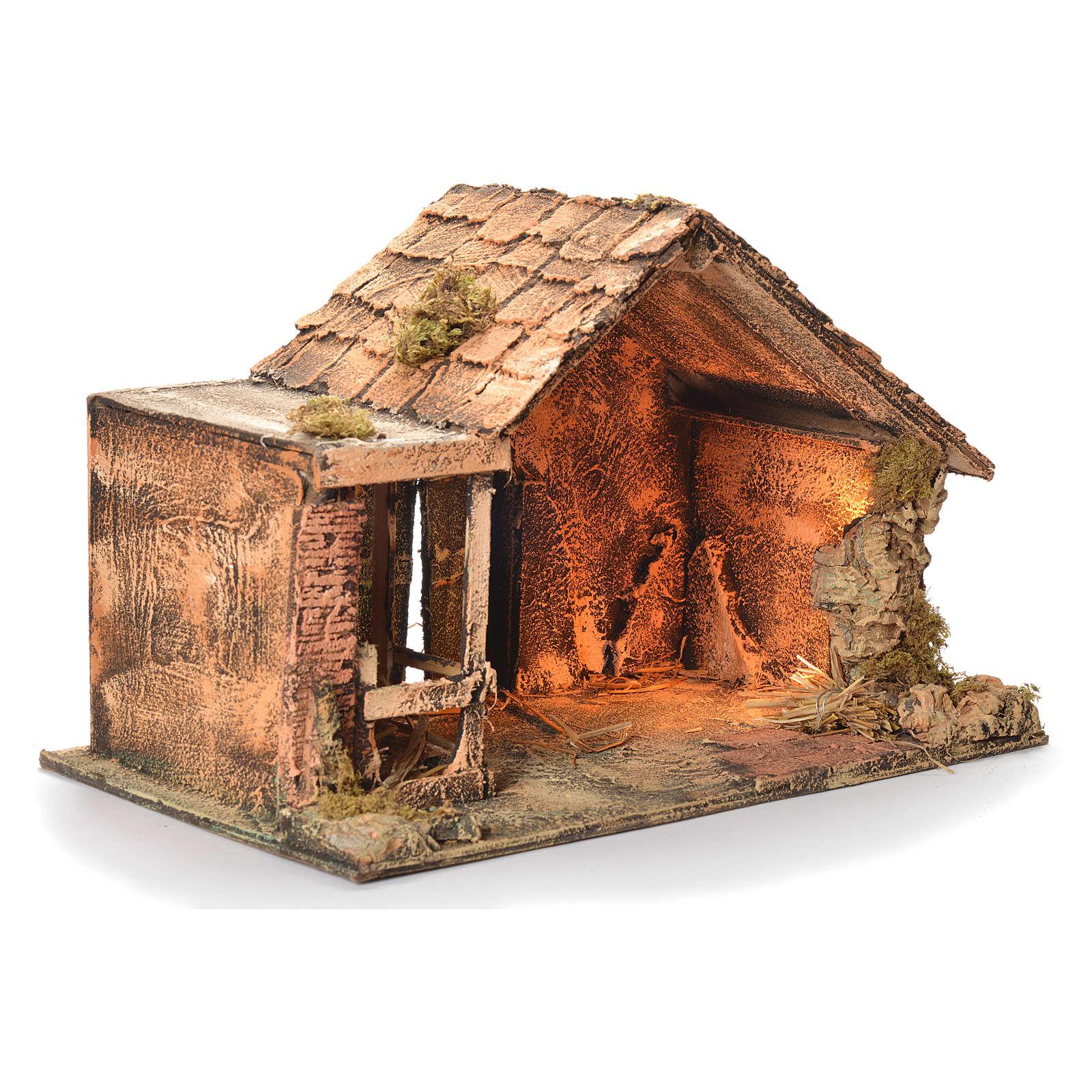 Wooden and straw cabin, Neapolitan Nativity 31x46x29cm 4