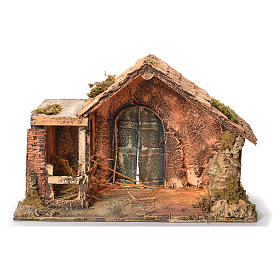 Wooden and straw cabin, Neapolitan Nativity 31x46x29cm s1