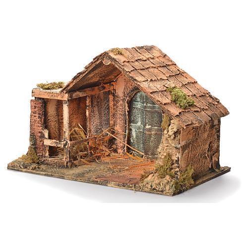 Wooden and straw cabin, Neapolitan Nativity 31x46x29cm 3