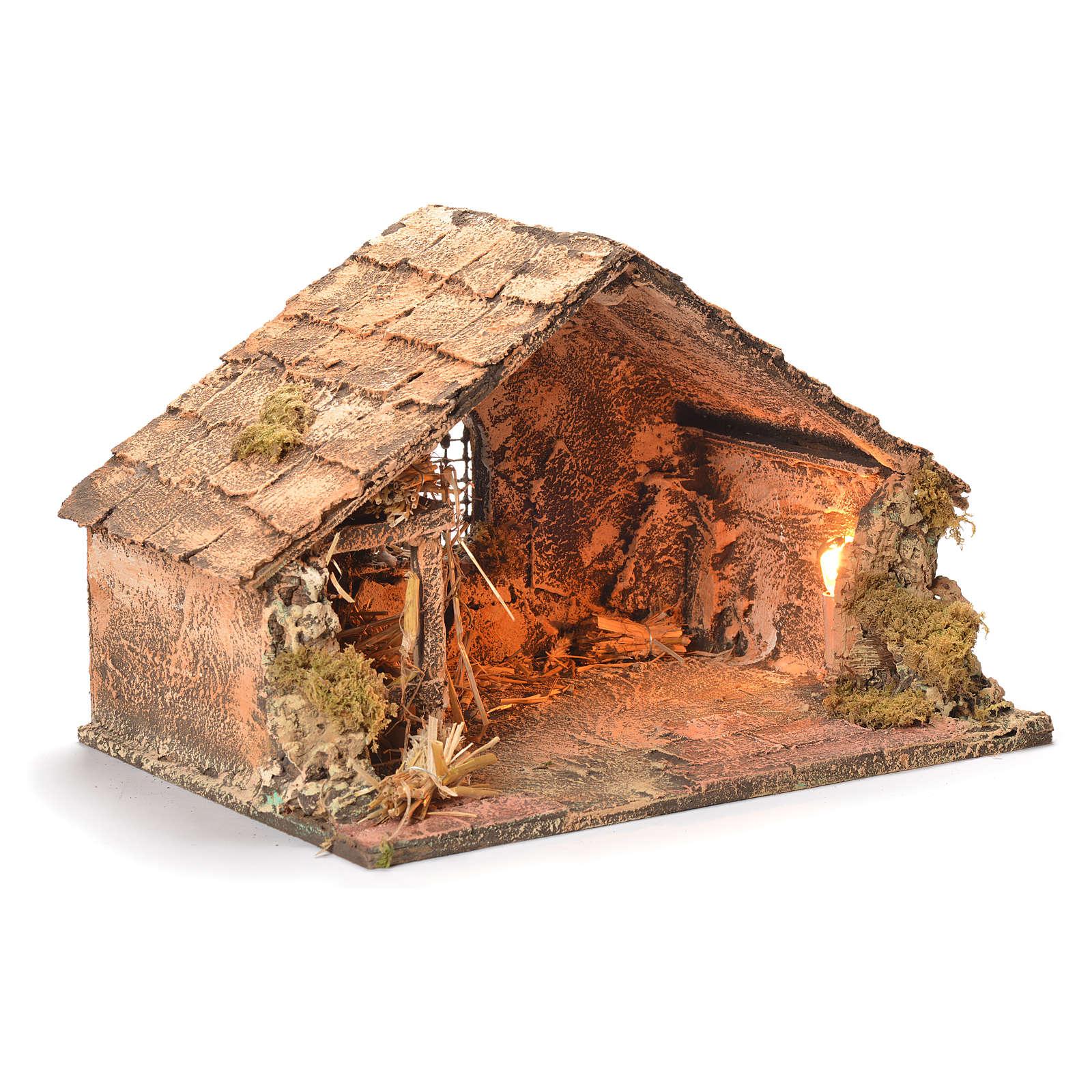 Capanna legno paglia presepe napoletano 26X40X29 4