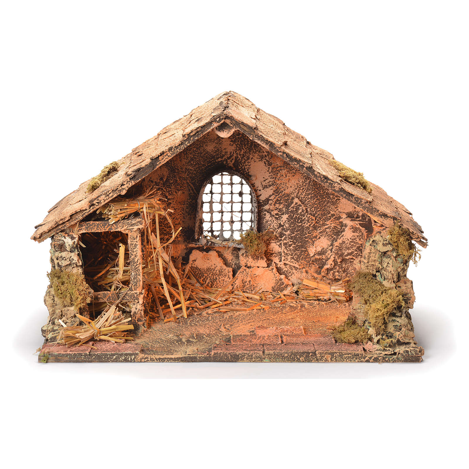 Wooden and straw cabin, Neapolitan Nativity 26x40x29cm 4