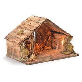 Wooden and straw cabin, Neapolitan Nativity 26x40x29cm s2