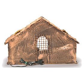 Wooden and straw cabin, Neapolitan Nativity 26x40x29cm s4