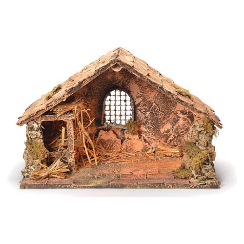 Wooden and straw cabin, Neapolitan Nativity 26x40x29cm 1