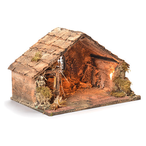 Wooden and straw cabin, Neapolitan Nativity 26x40x29cm 2