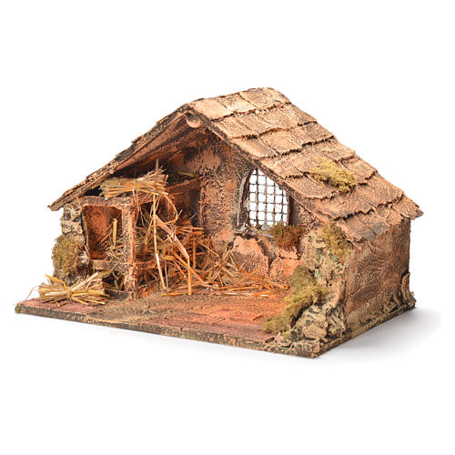 Wooden and straw cabin, Neapolitan Nativity 26x40x29cm 3