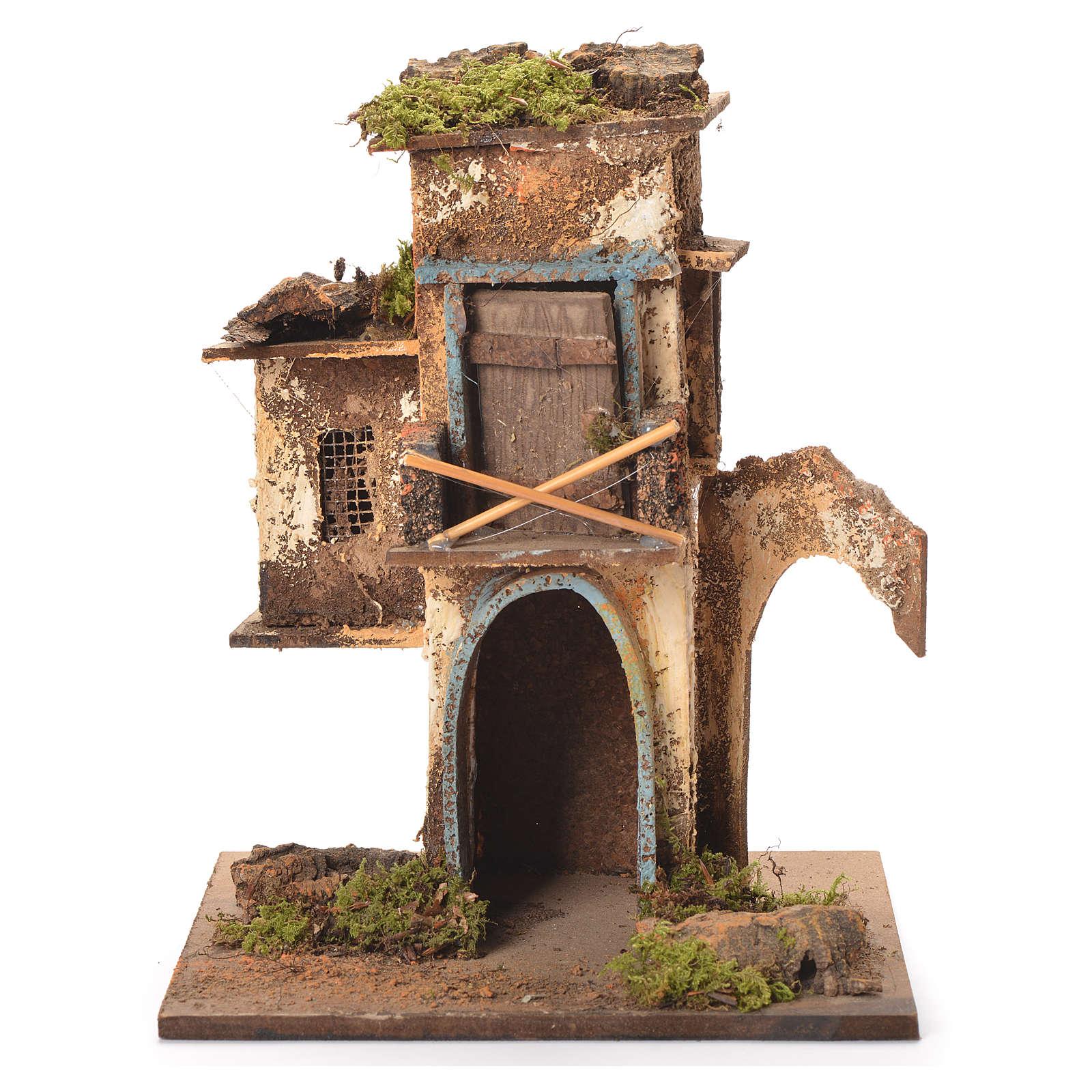 Maison 2 étages crèche napolitaine 26x20x19 cm 4